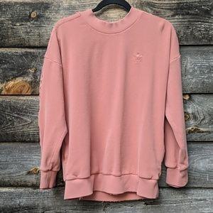 Adidas Waffle Knit Pink Mauve Striped Sweatshirt